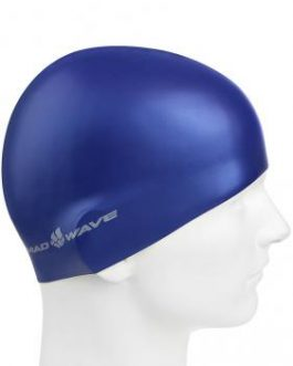 Mad Wave Silicone Swim Cap Metal Navy Blue