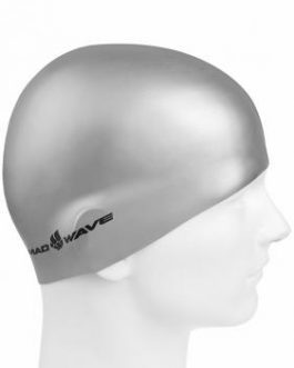 Mad Wave Silicone Swim Cap Metal Silver