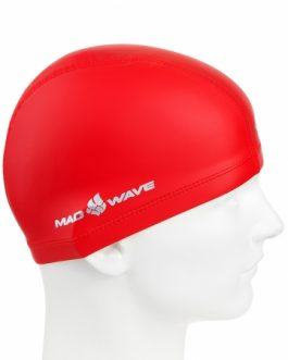 Mad Wave PU Coated Swim Cap Red