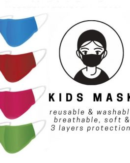 Kids Size Soft Breathable Fabric Face Mask 3 Layer Protection Reusable Washable Protective Face Cover